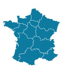 Carte des régions et la liste des comités régionaux avec 1 clic